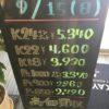 \9/15 本日は日曜日の為変動はございません!貴金属は大阪屋!/